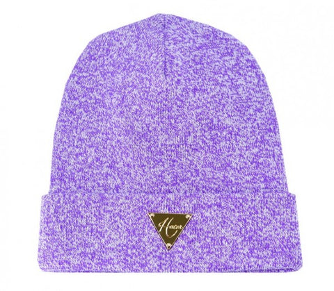 Classic Gold Triangle Beanie - Mixed Yarn Purple
