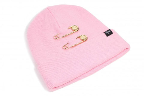 Gold Pin Beanie - Pink