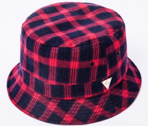 Flannel Plaid Bucket Hat - Red