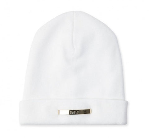 Gold Metal Bar Beanie - White