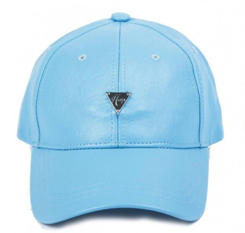 Grain Leather Unstructured Strapback - Light Blue