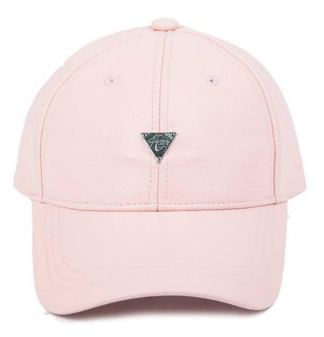 Grain Leather Unstructured Strapback - Pink