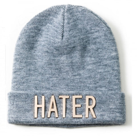HATER Gold Lettered Beanie - Grey Version 2