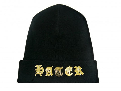Gothic Lettered Beanie - Black