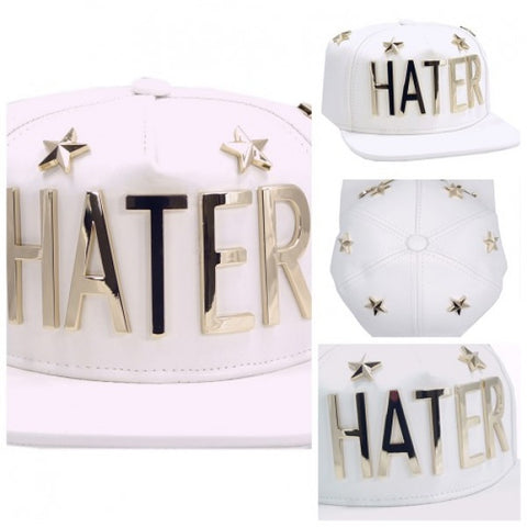 HATER 5 Star Metal Lettered Leather Snapback - White