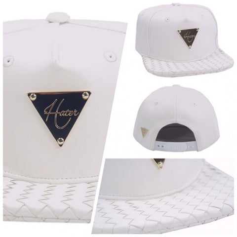 Intrecciato Woven Leather Brim  Snapback - White