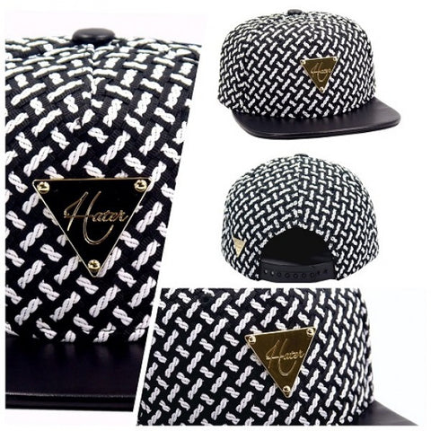 Woven with Leather Brim Snapback - Black & White