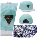 Caged Reflective Snapback - Teal with Snakeskin Brim