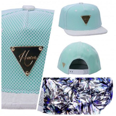 Reflective Snapback - Teal with Snakeskin