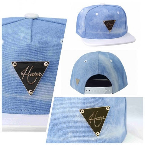Denim Washed with Leather Brim - White