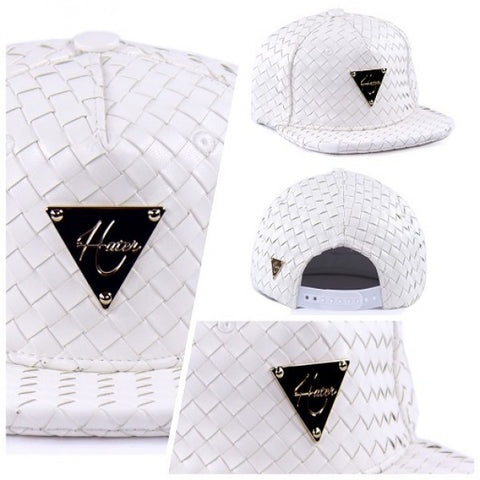 Full Intrecciato Woven Leather Snapback - White