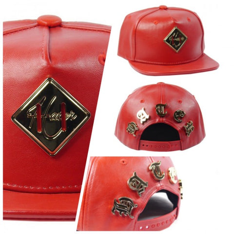 Gold Metal Lash Logo Snapback - Red