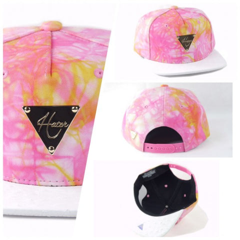 Tie Dye With Ostrich Skin Brim Snapback - Pink & Yellow