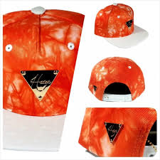 Tie Dye With Ostrich Skin Brim Snapback - Orange