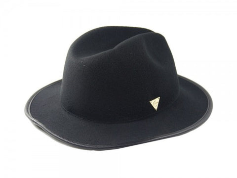Wool Overwelt Fedora with Leather Bound Brim  - Black