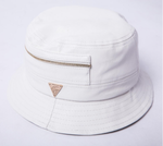 Leather Zippered Bucket Hat - White