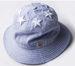 6 Star Multi Colored Paint Splatter Bucket Hat - Light Blue