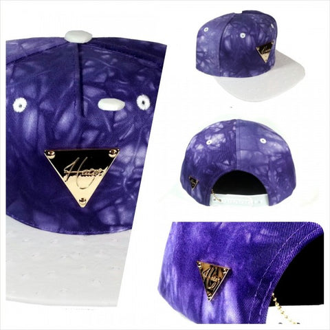Tie Dye With Ostrich Skin Brim Snapback - Purple