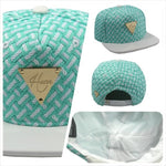 Woven with Leather Brim Snapback - Teal & White