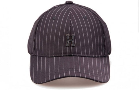 "Pinstripe ""H"" Structured Strapback - Black"