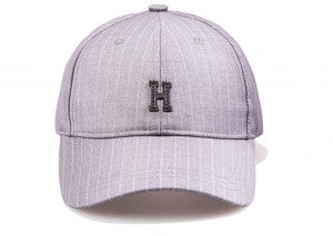 "Pinstripe ""H"" Structured Strapback - Light Grey"