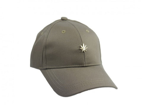 Gold Cannabis Studded Structured Strapback - Khaki