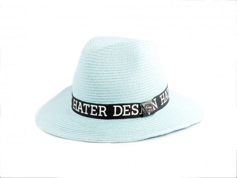 Straw Trilby Ribbon Hat - Blue