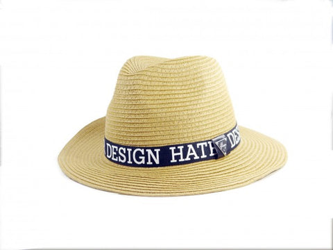 Straw Trilby Ribbon Hat - Tan
