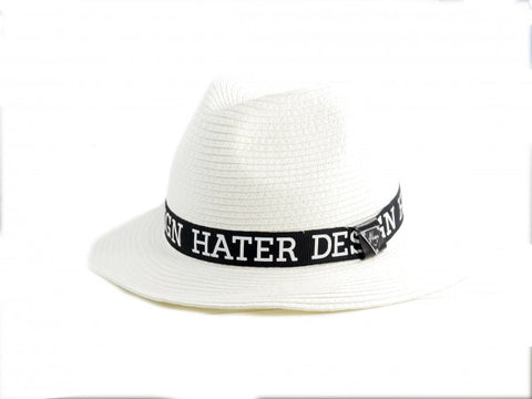 Straw Trilby Ribbon Hat - White