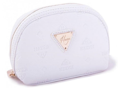 Embossed Leather Make Up Bag - White