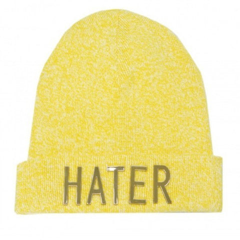 HATER Gold Lettered Beanie - Yellow