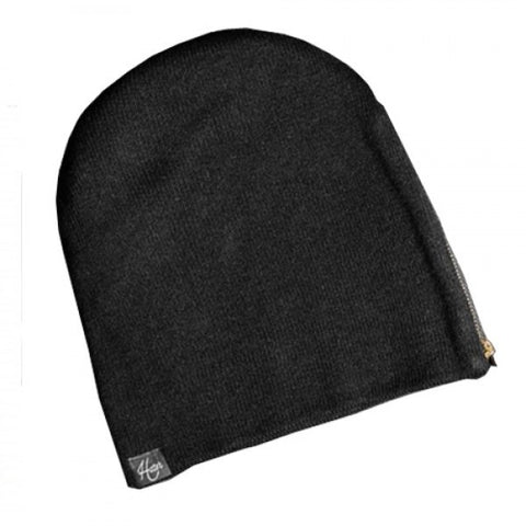 Gold Zipper Beanie - Black
