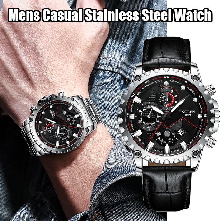 Mens Casual Stainless Steel Watch