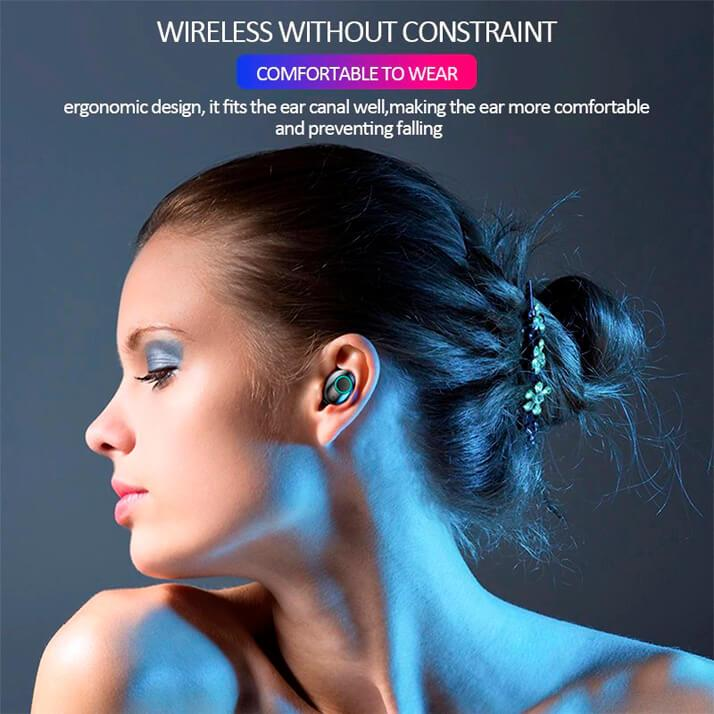 Wireless Bluetooth 5.0 Noise Canceling Waterproof Earphones / Earbuds with Mic for iPhone, Samsung and Android Smartphones and Devices