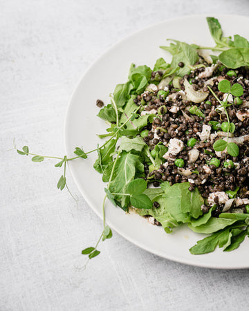 Black Lentil Salad with Fennel, Peas, Feta, & Mint