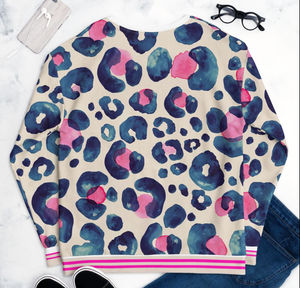 Oversized Leopard hot pink and navy - Sweatshirt