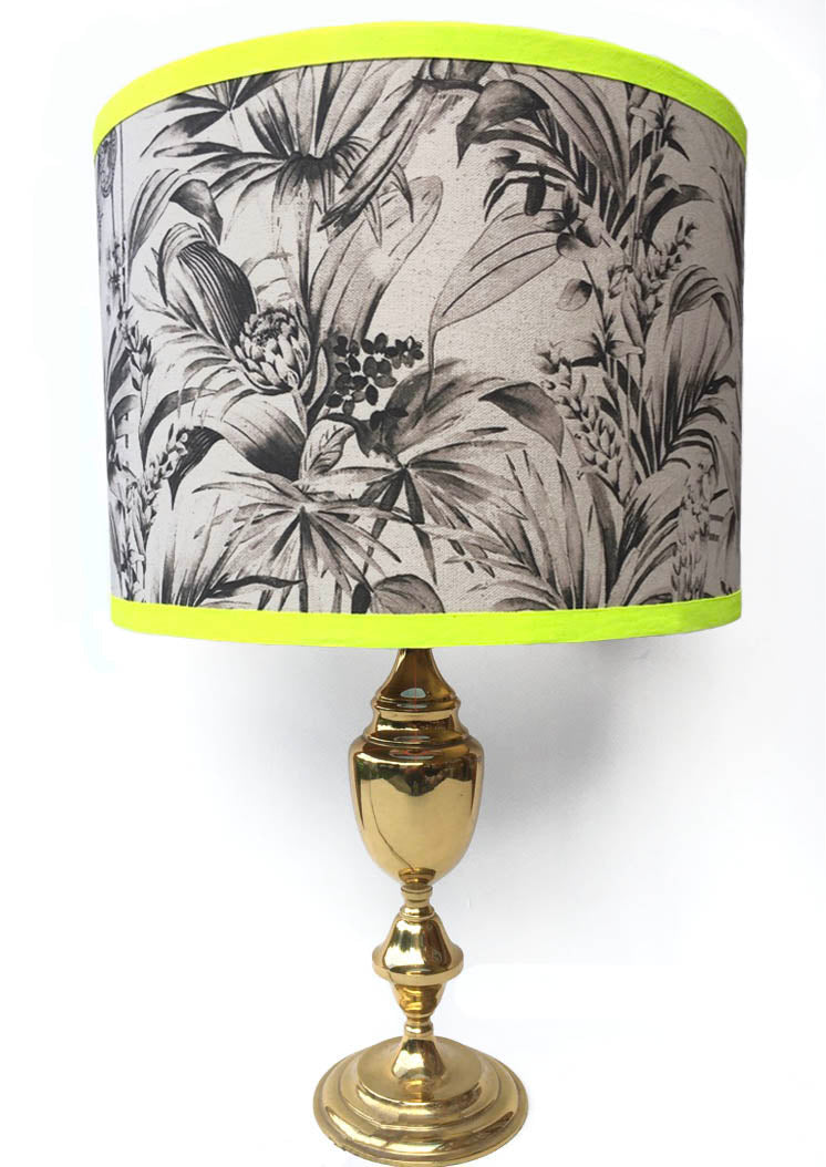 Tropical Snake Lampshade - Monochrome