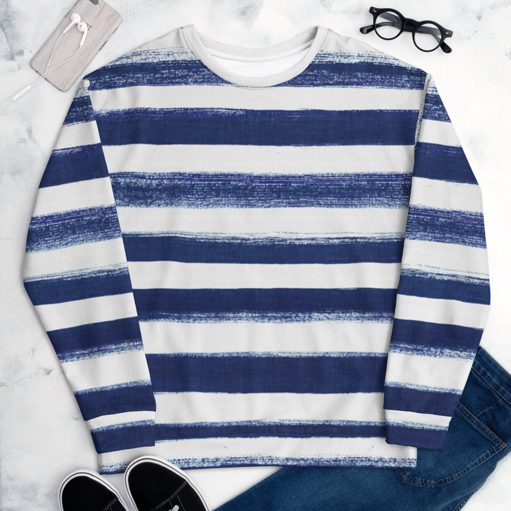 BRUSHED STRIPE NAVY SWEATSHIRT