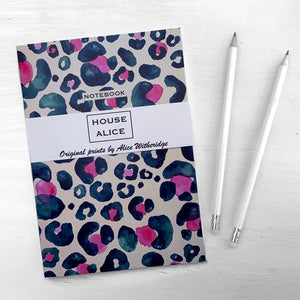 OVERSIZED LEOPARD NOTEBOOK - NAVY AND HOT PINK