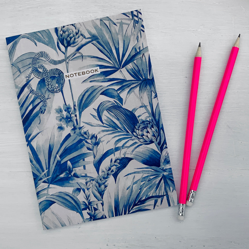 TROPICAL SNAKE NOTEBOOK - NAVY