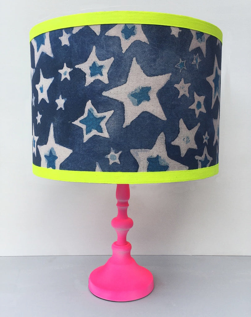 Ziggy Stardust Lampshade - Organic Cotton. Navy