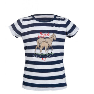 Striped Navy Horse T-Shirt For Australian Equestrian