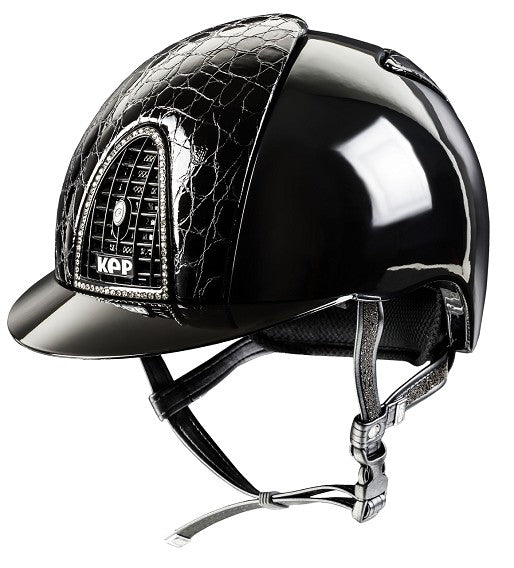KEP Cromo Polish Black Swarovski Cocco Style Black Leather Helmet For Australian Equestrian