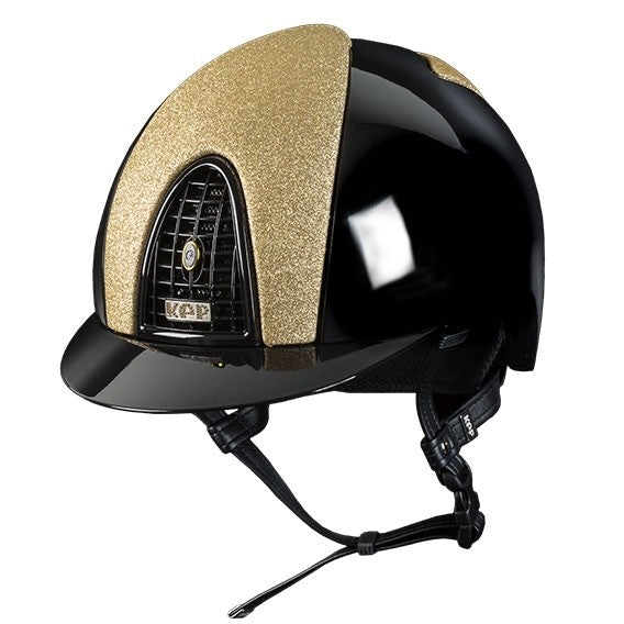 KEP Cromo Polish Black & Gold Helmet For Australian Equestrian