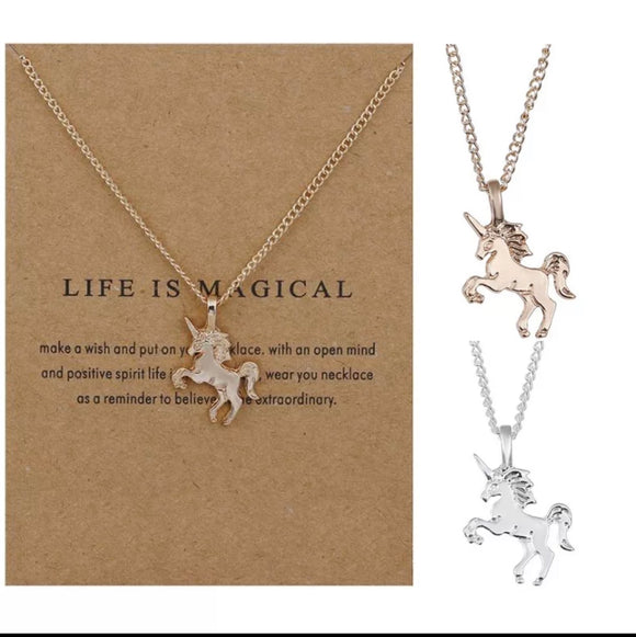 Life Is Magical Unicorn Pendent Necklace