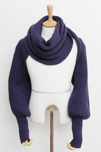 Crochet Knitted Scarf Shawl - WholeBlue