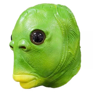 Green fish head alien latex mask headdress