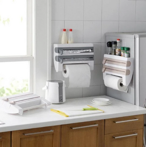 StoreNCut Wall Mounted Kitchen Storage and Rack for Cutting Foil Paper Tissue Plastic