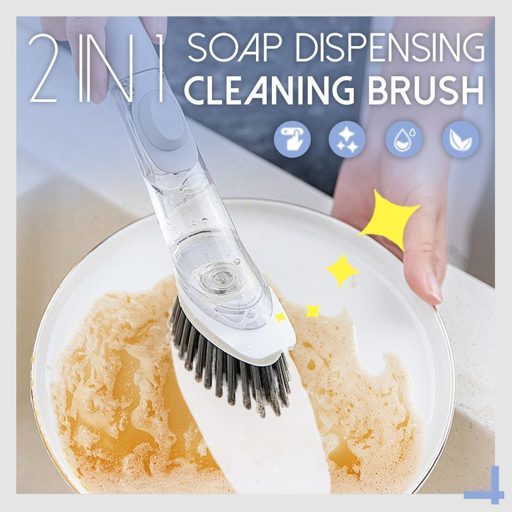 2 in 1 Soap Dispensing Cleaning Dishwasher Brush