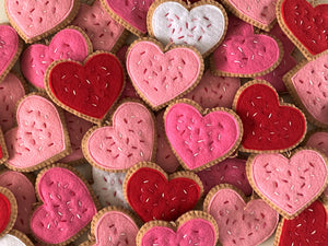 Valentine's Day Heart Cookie felt Ornaments - Heart Valentine Decorations